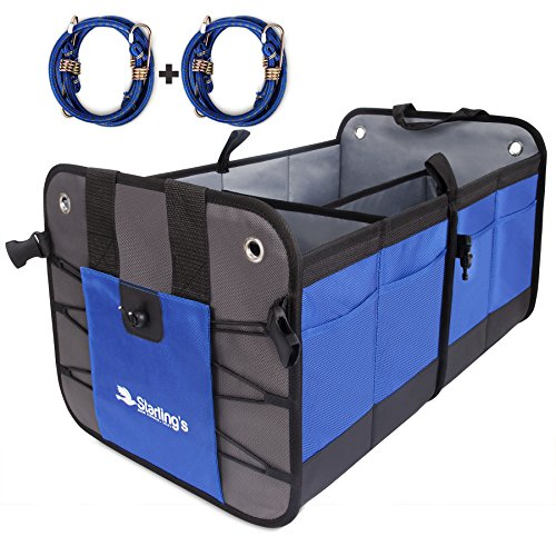 Car Trunk Organizer by Starling's- Premium Cargo Storage Container, Best for SUV, Vehicle, Truck, Auto, Home & Garage Heavy Duty Durable Construction Non-Skid Bottom Come With Bungee Cords - Pair