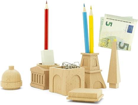Amazon Com Wood Desk Organizer Set Paris City Desk Tidy Pen Pencil Stationery Holder 3 Piece Set Office Products