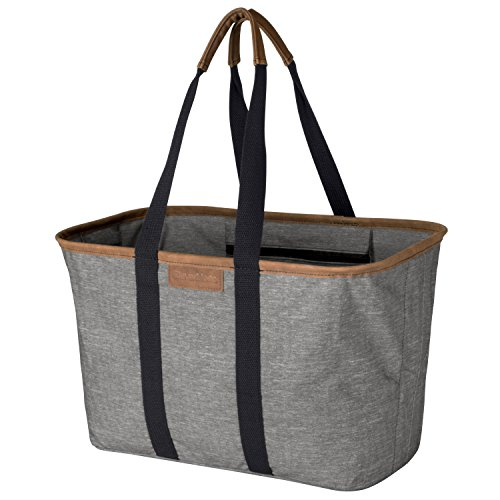 CleverMade 30L SnapBasket LUXE - Reusable Collapsible Durable Grocery Shopping Bag - Heavy Duty Large Structured Tote, Heather Grey Large Grocery Tote