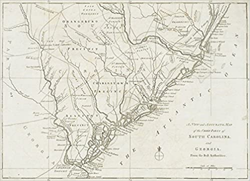 Colonial Map Of Georgia.A New And Accurate Map Of The Chief Parts Of South Carolina And