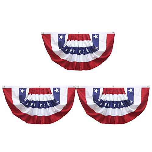 Juvale American Flag Bunting Pleated Fan - 3-Pack Patriotic Bunting Flag, USA Flag Banners for Outdoor, Indoor Decoration, National Holiday Events, 34.5 x 18.5 -