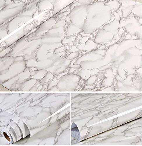 Grey Marble Look Contact Paper Gloss Film Vinyl Self Adhesive Backing Granite Shelf Liner Peel and Stick Wall Decal for Covering Counter Top Kitchen Cabinet (24''x195'')