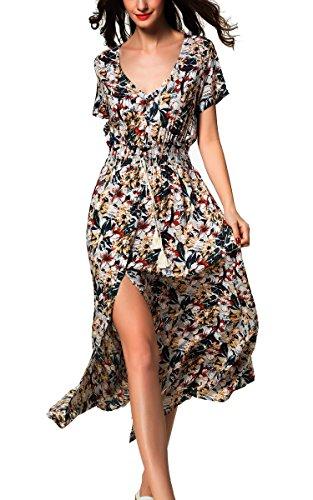 ARANEE Womens Summer Contrast Sleeveless Tank Top Floral Print Maxi Dress, Green, XX-Large