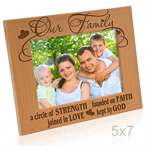 - A Circle of Strength, Founded on Faith, Joined in Love, Kept by God Engraved Natural Wood Picture Frame,, Housewarming, Religious & Spiritual, Wedding Gifts (5x7-Horizontal) ()