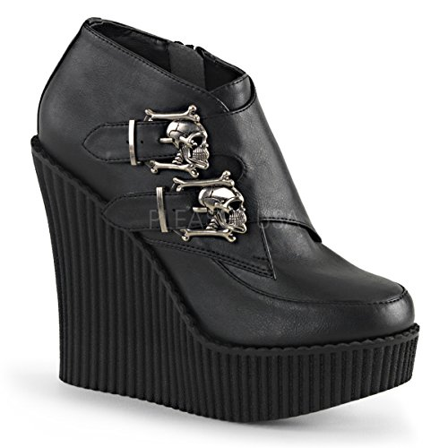 Buckle Creepers (Demonia Pleaser CREEPER-306 Women Wedge PF Monk Creeper w/Skull Buckles, Side Zip, Blk V. Leather, Size - 9)