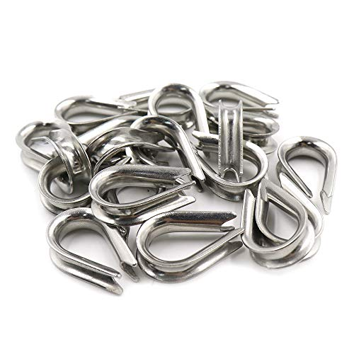"TUOREN M5 Stainless Steel Thimble for 5/32"" - 3/16"" Dia Wire Rope Cable Thimbles Rigging-20pcs"