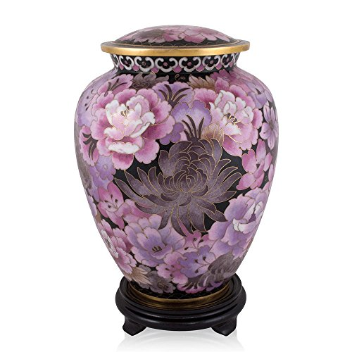 Perfect Memorials Pink Floral Garden Cloisonne Cremation Urn Wood - Floral Cloisonne Collection