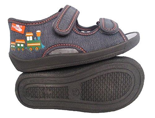 Renbut Jungen Baby Hausschuhe Sandalen Lauflernschuhe Erste Schuhe Klettverschluss Innensohle Leder Grau Grau