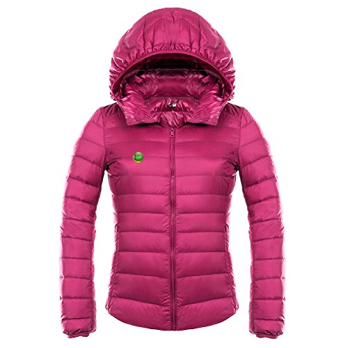LOCOMO Women Pink Puffer Hood Insulated FFJ060BLUL Hooded Girl Down Rose Coat Jacket arWa6q