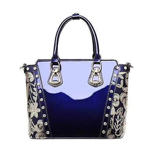 Style De Verni En De à Blue Européen Main Sacs à Brodé Sac Haut La Cuir Gamme Main De Mode En Sacs Cuir wKpEHUvUBq
