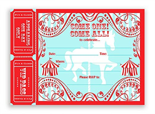 (POP parties Carousel Large Invitations AR - 20 Invitations 20 Envelopes - Carnival Invitations - Circus)