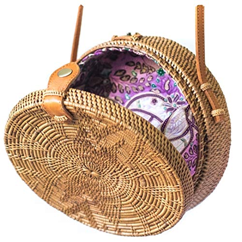 Bali Harvest Round Woven Ata Rattan Bag Linen Inside and Leather Button with Flower Pattern (with Genuine Leather Strap) ()
