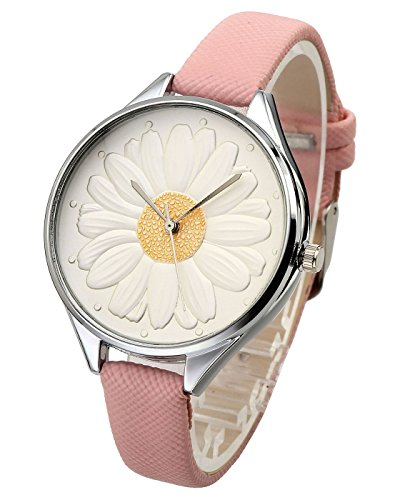 Top Plaza Women Casual Elegant Silver Round Case Thin PU Leather Band Daisy Carve Flower Dial Analog Quartz Wrist Watch 30M Waterproof(Pink) ()