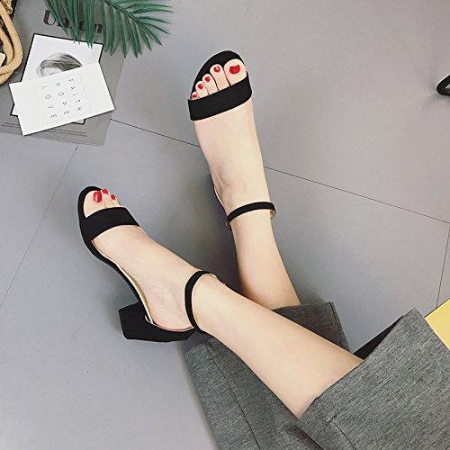 SHOESHAOGE Roma Eu35 High Sandals Señoras Con Y Grueso De Zapatos Toe Dew Y En Mujer Ranuradas EU37 Fijaciones Heeled r8nq1TrZwS