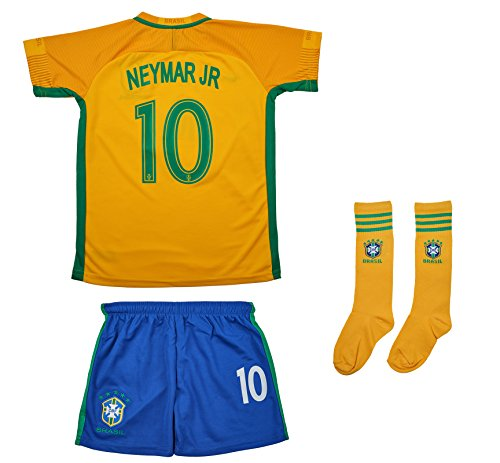 Soccer Youth Jersey Set ● Brazil ● HomeJersey ● 2017 2018 ● # 10 Neymar (10-11 ages ● X-Large)