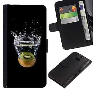 YiPhone /// Tirón de la caja Cartera de cuero con ranuras para tarjetas - Kiwi Agua - HTC One M8