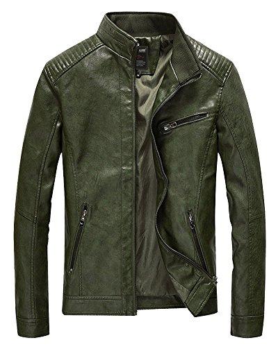 Sólido Cremallera Motocicleta Delgado Ocio Color Chaqueta Abrigo Ejército Del Cuero Hombre Verde q8CIx