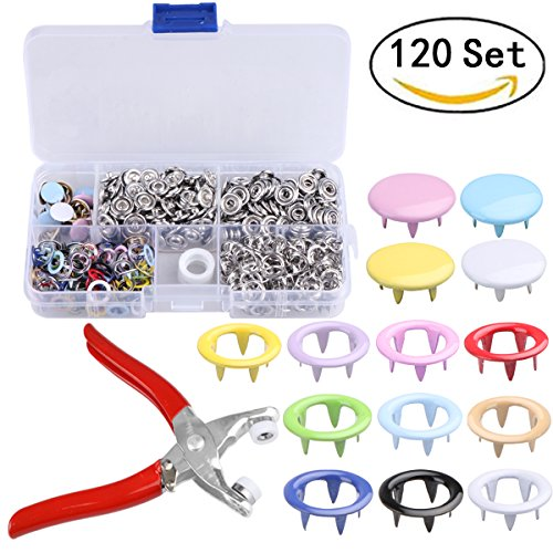 Hand Sewing Buttons - 120 Sets snap setter hand pliers setting tool ,Metal Ring Button Press Studs Sewing Craft Fastener Snap Pliers Craft Tool 9.5mm, Aunifun