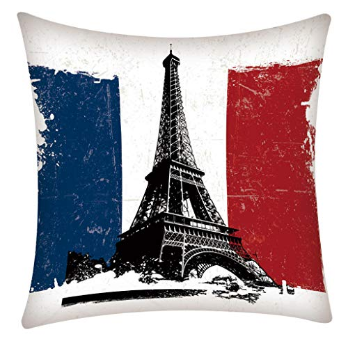 Square Pillow Case Paris Tower for Living Room Print Pillow Case Polyester Sofa Car Cushion Cover Home Decor 45 X 45cm (Le Paris Sofa)