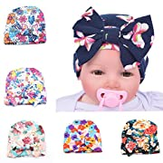 3PCS/lot (Random color) Baby Knitted Cotton Hat Bow Decor Print Floral Pattern European American Style Cap for Newborn Baby