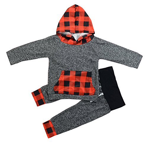 Kehen Toddler Boy Girl 2pcs Red Blac Plaid Outfit Long Sleeve Hoodie Sweatshirt With Pocket+Pants (Gray, 6-12 Months)