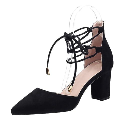 De Zapatos Gtagain Ancho Tacón Cerrada Mujer Punta Vestir Y76ybgf