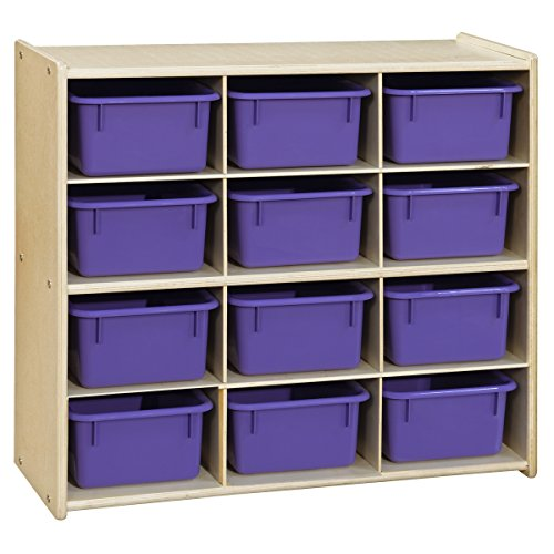 Baltic Birch 12 Cubby Storage (Contender C16129PPF Baltic Birch 12-Cubby Storage Unit with Purple Tubs - Assembled (Pack of 12))