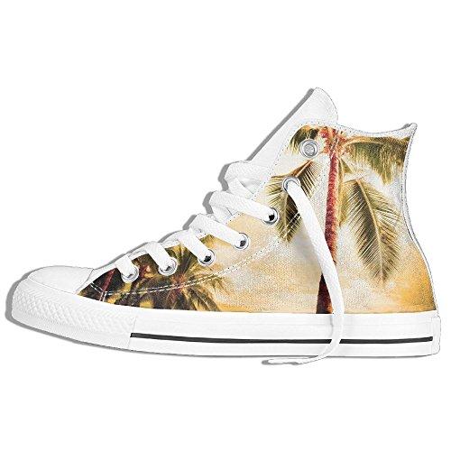 Zapatillas De Deporte Clásicas Altas Zapatos De Lona Antideslizante Árboles De Coco De Hawai Casual Caminando Para Hombres Mujeres Blancas