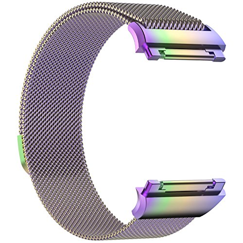 Hanbaili Watch Bands for Fitbit Ionic Stainless Steel Milanese Loop Mesh Replacement Strap with Magnetic Clasp Small Size Rainbow for Women Men by Hanbaili