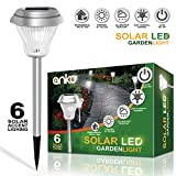 Solar-Power LED Garden Lights[Set of 6 Pack], ANKO 2Color Switch (White & Warm White); 'Stainless Steel Stand & Glass Lampshade Manufacture'; Easy Installation; No-Wire Waterproof Security