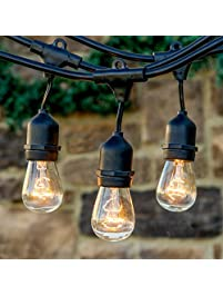 Brightech Ambience Pro Commercial Grade Outdoor String Lights With Hanging Sockets 48 Ft Market Cafe