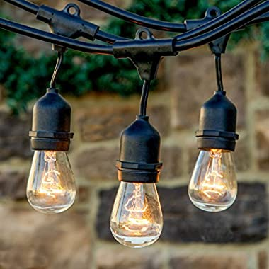 Brightech Ambience Pro Commercial Grade Outdoor String Lights with Hanging Sockets - 48 Ft Market Cafe Edison Vintage Bistro Weatherproof Strand for Patio Garden Porch Backyard Party Deck Yard – Black