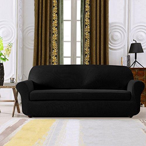 Subrtex 2-Piece Spandex Stretch Sofa Slipcover (Loveseat, Black) (Modern Slipcover Sofa)