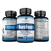Neuro Focus Premium Brain Support Nootropic Supplement By GoodLife Nutrition – 60 Veggie Capsules – Enhances Memory, Focus & Mental Clarity – Advanced Formula With Vitamins - 60 Veggie Caps
