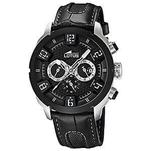 Lotus 15787/5 - Reloj analógico de cuarzo para hombre con correa de piel, color negro