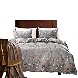 Linen_specialist Grey Floral Bedding Set King Size, 100% Microfiber Botanical Duvet Cover Set Branches Leaves Pattern Printed with Zipper Closure and 4 Corner Ties for Bedroom