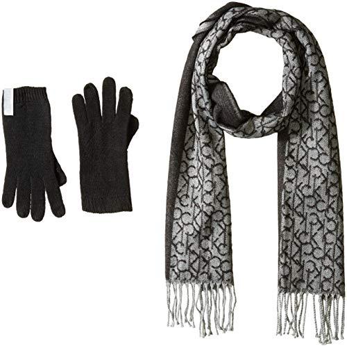 (Calvin Klein Women's 2 PC Woven Border Scarf, Knit Touch Glove, black, O/S)