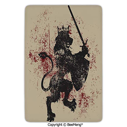 (Mat Non-Slip Soft Entrance Mat Door Floor Rug Area Rug for Chair Living Room,King,Lion Symbol of Courage with Sword Armor and Shield on Grunge Backdrop,Black White and Burgundy,16 x 24 in)