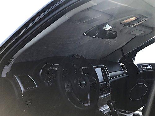 The Original Windshield Sun Shade, Custom-Fit for Jeep Grand Cherokee SUV w/Sensor 2017, 2018, 2019, Silver Series