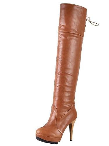 AIYOUMEI Damen Geschlossen Stiletto High Heels Overknee Stiefel mit Schnürsenkel und Plateau Langschaftstiefel Schuhe 88qGsMW