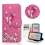 STENES Moto E5 Play Case - Stylish - 3D Handmade Bling Crystal S-Link Butterfly Floral Magnetic Wallet Credit Card Slots Fold Stand Leather Cover for Moto E5 Play/Moto E5 Cruise - Hot Red