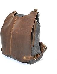 Fansela(TM) Crazy-horse Leather Backpack 14.4 inch Laptop Bag