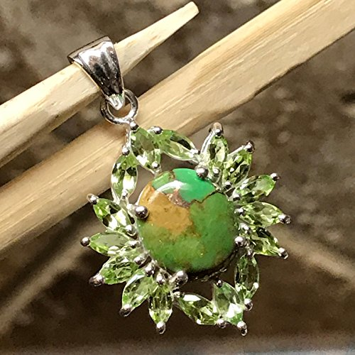 - Natural Green Copper Turquoise 8ct Apple Green Peridot 925 Solid Sterling Silver Designer Pendant 32mm Long
