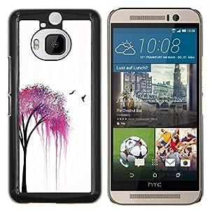 Eason Shop / Premium SLIM PC / Aliminium Casa Carcasa Funda Case Bandera Cover - Naturaleza Spring Birds blanca minimalista - For HTC One M9+ M9 Plus