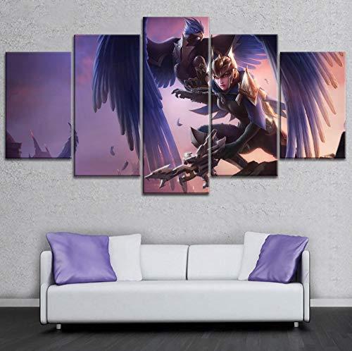 Legends Furniture Contemporary Light - sansiwu 5 Piece Modular Pictures Game League of Legends Quinn Poste On Canvas Printing Modern Type Style Home Decor Wall Artwork(Frameless)