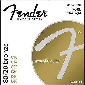 CUERDAS GUITARRA ACUSTICA - Fender (70/XL) Extra Light (Juego Completo 010/048): Amazon.es: Instrumentos musicales