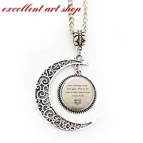 Buddha Quote Necklace, Full Moon Necklace , Motivational Wisdom Pendant, Inspirational Yoga (Buddha Pendant Jewelry)