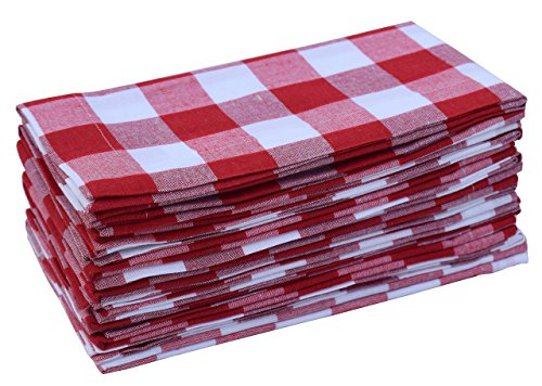 Linen Clubs Pack of 12 Red -White 100% Cotton Yarn Dyed Gingham Check Dinner Napkins 18x18Inch,Clambake Beach Party Nautical Dinner Napkins as Well ()