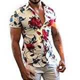 NUWFOR Men Casual Summer Printed Button Short Sleeve Hawaiian T-Shirt Top Blouse(White,M US Chest:40.16''