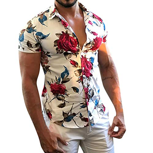 Men's Casual Flower Print Short Sleeve T-Shirt Tops, Turn-Down Collar Button-Down Beach Hawaiian Style Blouse Tee Shirt (White, M)